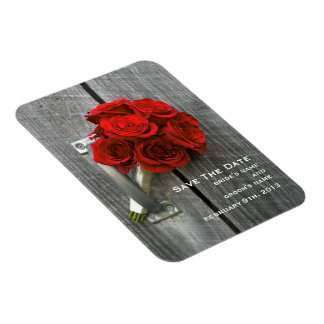 Red Rose Bouquet & Barnwood Save The Date Magnet