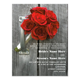 Red Rose Bouquet & Barnwood Wedding Card