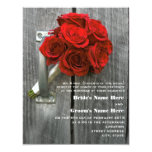 Red Rose Bouquet & Barnwood Wedding 4.25x5.5 Paper Invitation Card