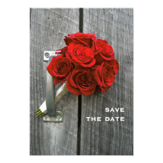 Red Rose Bouquet & Barnwood Wedding Save The Date Invites