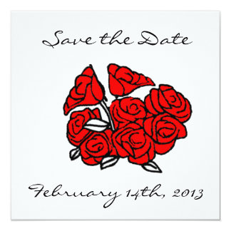 """Red Rose Bouquet Save the Date 5.25"""" Square Invitation Card"""