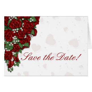 Red Rose Bouquet Save the Date Note Card