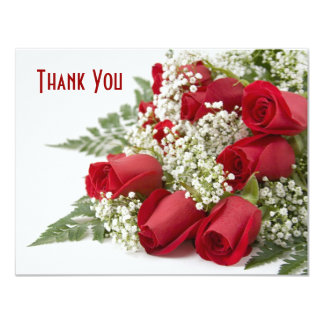 "Red Rose Bouquet Thank You Card 4.25"" X 5.5"" Invitation Card"