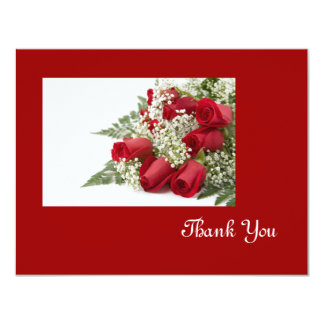 Red Rose Bouquet Thank You Card Personalized Announcement
