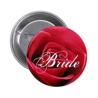 red rose, Bride 6 Cm Round Badge