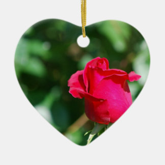 Red Rose Bud Christmas Ornaments