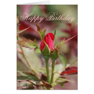 Red Rose Bud Happy Birthday Card