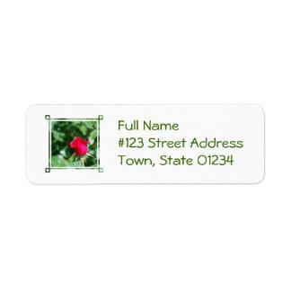 Red Rose Bud Return Address Label