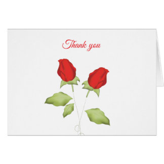 Red rose bud thank you cards