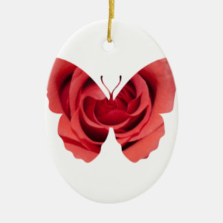 Red rose butterfly silhouette ceramic oval decoration