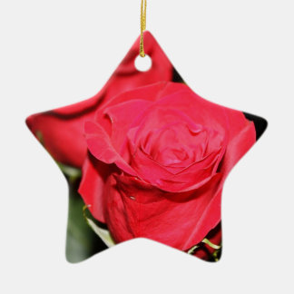 Red Rose Ceramic Star Decoration