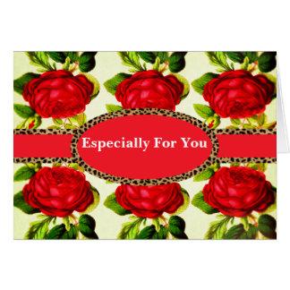 Red Rose Cheetah Monogram Vintage Card