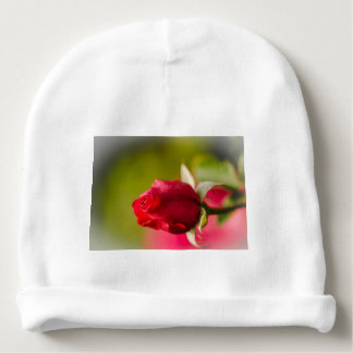 Red rose close up design baby beanie
