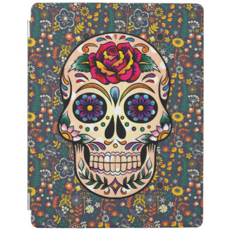 Red Rose Colorful Floral Sugar Skull iPad Cover