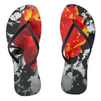 Red rose Custom flip-flops Slim Straps Thongs