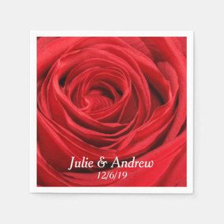 Red Rose Custom Napkins Paper Serviettes