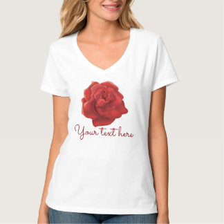 Red rose custom text T-shirt