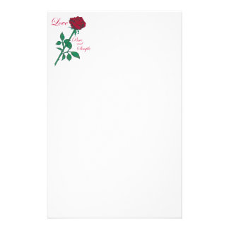 Red Rose Customized Stationery