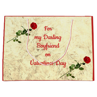 Red Rose Darling Boyfriend on Valentines Day Large Gift Bag