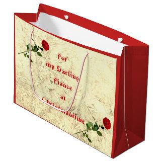 Red Rose Darling Fiance at Christmas design Large Gift Bag