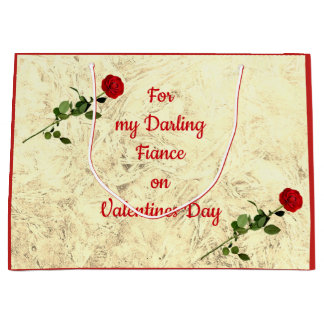 Red Rose Darling Fiance on Valentines Day Large Gift Bag