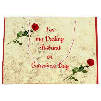 Red Rose Darling Husband on Valentines Day Large Gift Bag