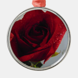 Red Rose Delight Silver-Colored Round Decoration