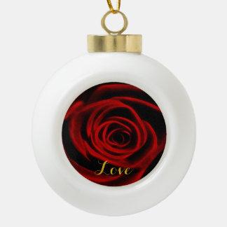 Red Rose depth of love Ceramic Ball Decoration
