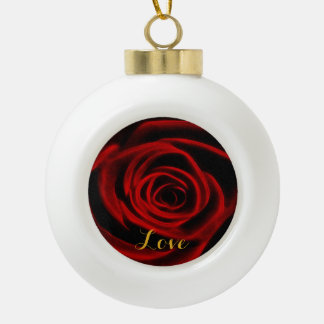 Red Rose depth of love Ornaments