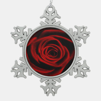 Red Rose depth of love Pewter Snowflake Decoration