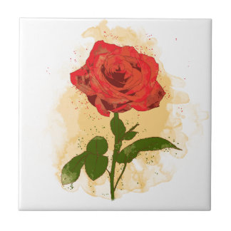 Red Rose Design Small Square Tile