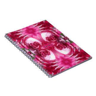 Red Rose Doubled up Photo Fractal Notebook 80pg