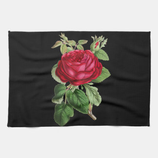 Red rose draw tea towel