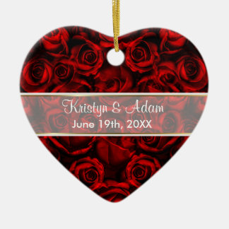 Red Rose Elegance - Customize Ceramic Heart Decoration