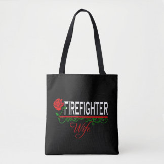 Red Rose Firefighter Wife Tote Bag