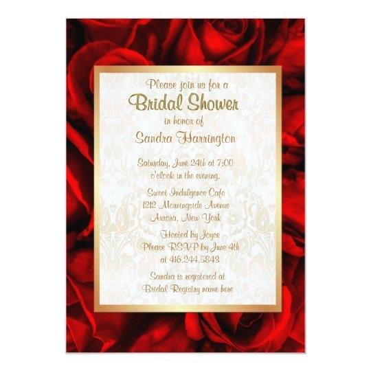 Red Rose Floral Bridal Shower Card