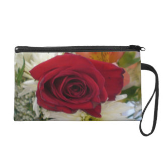 Red Rose Floral theme design wristlet