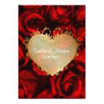 Red Rose Floral Wedding Invitation 13 Cm X 18 Cm Invitation Card