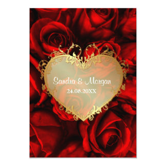 Red Rose Floral Wedding Invitation Personalized Invites