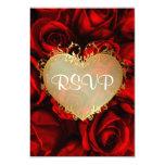 Red Rose Floral Wedding RSVP 9 Cm X 13 Cm Invitation Card