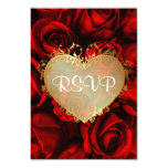 Red Rose Floral Wedding RSVP Invites