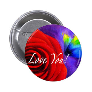 Red Rose Flower Butterfly Painting - Multi Buttons
