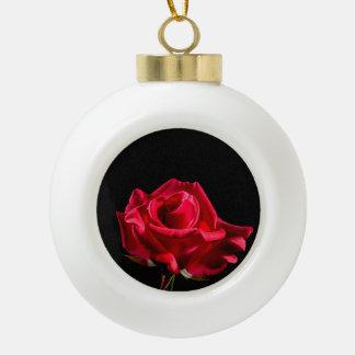 Red Rose Flower Floral Bloom Ceramic Ball Decoration