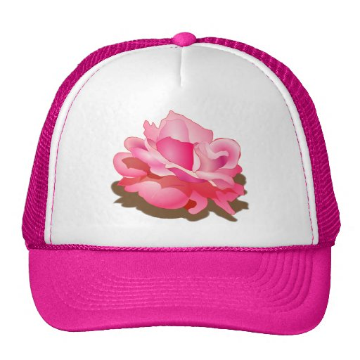 RED ROSE FLOWER IN BLOOM. BIG ROSE GIFTS TRUCKER HAT
