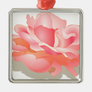 RED ROSE FLOWER IN BLOOM. BIG ROSE GIFTS Silver-Colored SQUARE DECORATION
