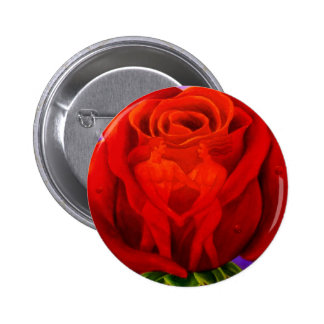 Red Rose Flower Painting Art - Multi Pinback Buttons