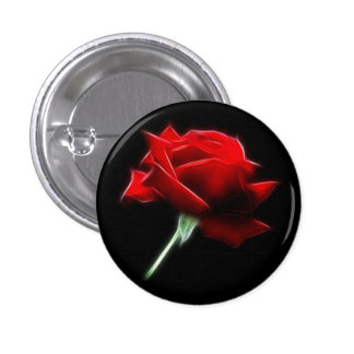Red Rose Flower Plant 3 Cm Round Badge