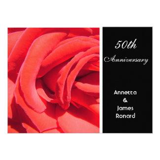 Red rose flower wedding anniversary invitation invites