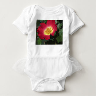 Red rose flower with yellow stamens baby bodysuit