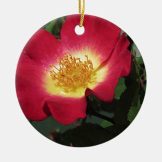 Red rose flower with yellow stamens round ceramic decoration